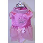 Satin Princess with Crown Dog Costume