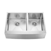 "33"" Stainless Steel Double Bowl Farmhouse Kitchen Sink Set"