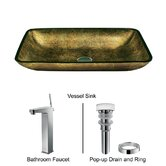 Rectangular Glass Vessel Sink and Modern Faucet Set