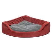 Microfiber Corner Pet Bed in Earth Red