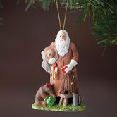 """Honey Bee Santa"" Santa with Bear and Beehive Ornament"