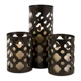 Norte Cutwork Wrought Iron and Glass Votives (Set of 3)