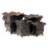 Square Scalloped Planters (Set of 4)