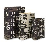 Text Collage Book Box in Black and White (Set of 3)