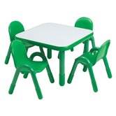 Square Baseline Preschool Table and Chair Set in Shamrock Green
