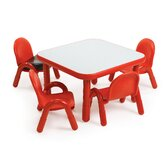 Square Baseline Preschool Table and Chair Set in Candy Apple Red