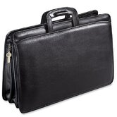 University Triple Gusset Zip Top Tri-Pocket Briefcase