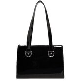 Patent Leather Top-Zip Shoulder Handbag