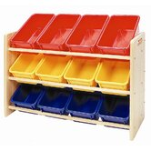 3-Tier Wood Rack w/12 Assorted Color Bins & Lids