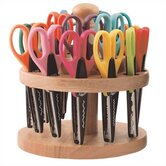 Rotating Wood Scissor Organizer With 18 Assorted Kraft Edger Scissors