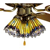 Tiffany Jeweled Peacock Fan Light Shade