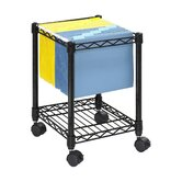 Wire Compact Mobile File Cart in Black