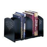 Adjustable 5 Section Steel Book Rack in Black