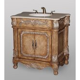Brown Vanity with Ivory Sinks