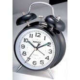 "Desktop Double Bell Alarm Clock with 4"" Dial in Black"