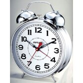 "Desktop Double Bell Alarm Clock with 4"" Dial in Chrome"