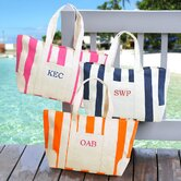 Striped Canvas Tote Bag