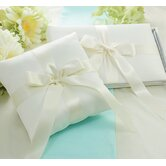Tied with a Bow Guest Book and Ring Pillow Set in Ivory