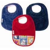 Boy Bibs 3 Pack in Teal and  Navy Plain, and Red with Pocket
