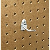 DuraHook 1 In. Single Rod 30 Degree Bend 3/16 In. Dia. Zinc Plated Steel Pegboard Hook for DuraBoard, 10 Pack