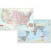 Us &amp; World Physical Map Set 50x32