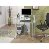 Small Computer Desk with Clear Glass