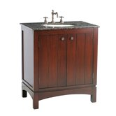 "Charleston 32"" Bathroom Vanity in Dark Cherry with Granite Top"