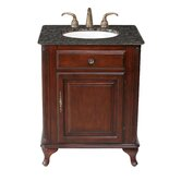"Lucy Classic 27"" Bathroom Vanity in Polished Cherry with Granite Top"