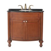 "Georgiana 36"" Single Bathroom Vanity with Black Galaxy Granite Top in Cherry"