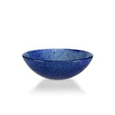 Glass Vessel Sink with Blue Bits Design