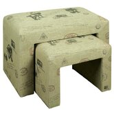 Nest of 2 Illustrated Linen Stool