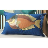 Funky Blue Fish Rectangular Throw Pillows