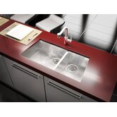 Trapezoid 34.33' x 17.5' Undermount Stainless Steel Double Bowl Kitchen Sink