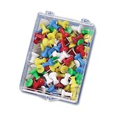 Push Pins, Plastic, Assorted Colors, Head 1/2&quot; L