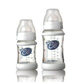 2 Piece Wide Glass Baby Bottles with Silicone Grips Set