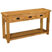 Bordeaux Console/Wine Table in Medium Oak Stain and Satin Lacquer