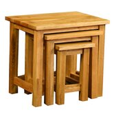Essentials 3 Piece Nest of Table Set in Light Oak Stain and Satin Lacquer