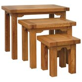 Toulouse 3 Piece Nest of Table Set in Medium Oak Stain and Satin Lacquer