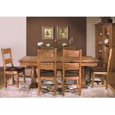 Toulouse Large Twin Pedestal Solid Oak Extending Dining Set in Medium Oak Stain and Satin Lacquer
