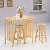 3 Piece Counter Height Bar Table Set in Natural