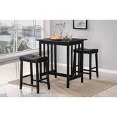 3 Piece Bar Table Set in Black