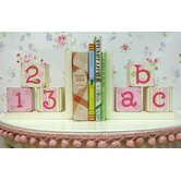 ABC 123 Bookends in Pink / Green