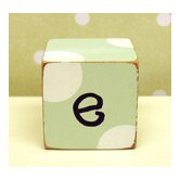 """e"" Letter Block in Green"