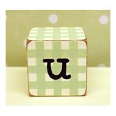 """u"" Letter Block in Green"