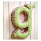 &quot;g&quot; Fabric Letter in Pink / Green