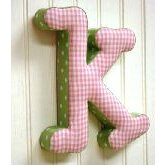 &quot;k&quot; Fabric Letter in Pink / Green