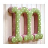 &quot;m&quot; Fabric Letter in Pink / Green