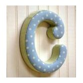 """c"" Fabric Letter in Blue / Green"