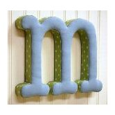 &quot;m&quot; Fabric Letter in Blue / Green