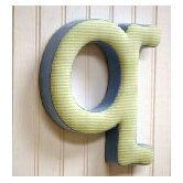 """q"" Fabric Letter in Blue / Green"